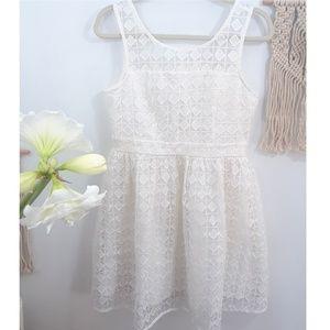 Mini Dress cocktail Lace White Large